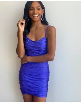 Spaghetti Straps Blue Beading Tight Homecoming Dress NHD3550