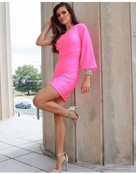 One Shoulder Fuchsia Satin Tight Homecoming Dress with Beading Long Sleeves NHD3551