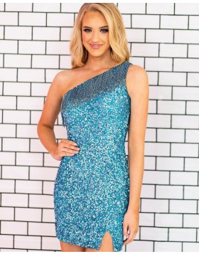 One Shoulder Light Blue Sequin Tight Homecoming Dress with Tassels NHD3555