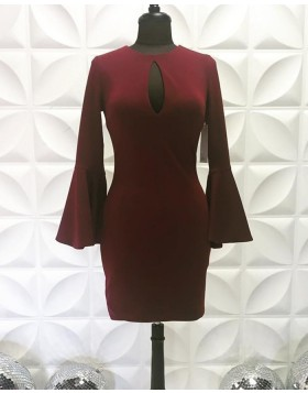 Jewel Neck Cutout Satin Burgundy Tight Homecoming Dress with Bell Sleeves NHD3557