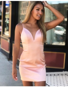 Double Spaghetti Straps Pearl Pink Tight Homecoming Dress HD3558