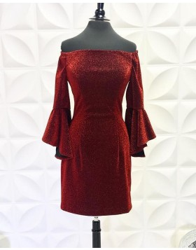 Burgundy Off the Shoulder Metallic Tight Homecoming Dress with Bell Sleeves NHD3558