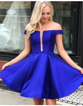 Off the Shoulder Royal Blue Satin Simple Homecoming Dress HD3559