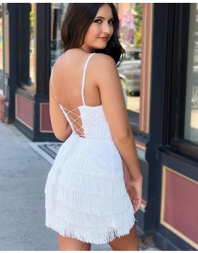 Elegant V-neck White Lace Beading Tight Homecoming Dress with Tassels HD3560