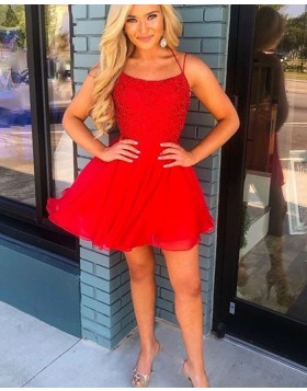 Spaghetti Straps Red Chiffon Short Homecoming Dress HD3561
