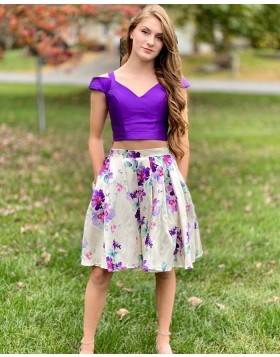 Cold Shoulder Two Piece Floral Print Homecoming Dress with Pockets NHD3564