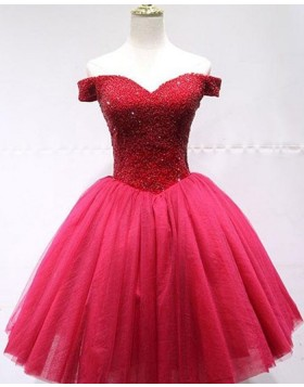 Off the Shoulder Beading Bodice Tulle Red Homecoming Dress HD3565