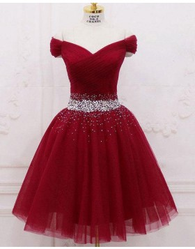 Off the Shoulder Tulle Sparkle Beading Ruched Burgundy Homecoming Dress HD3566