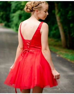 Simple V-neck Red Tulle Beading Homecoming Dress HD3570