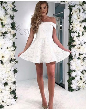 Off the Shoulder White Lace Short A-line Homecoming Dress HD3574