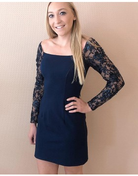 Square Navy Blue Satin Tight Homecoming Dress with Lace Long Sleeves HD3579