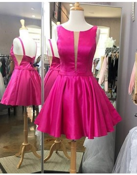 Simple Scoop Fuchsia Satin Pleated Homecoming Dress HD3582