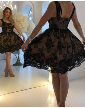 Square Black Lace A-line Homecoming Dress HD3585
