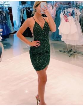 Spaghetti Straps Dark Green Beading Tight Homecoming Dress HD3588