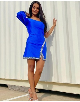 One Shoulder Blue Beading Tight Homecoming Dress with Long Sleeves HD3598