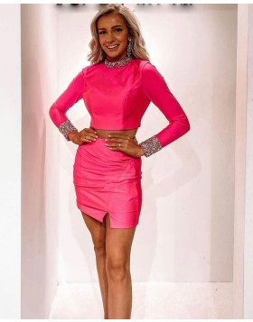 High Neck Fuchsia Two Piece Beading Tight Homecoming Dress with Long Sleeves HD3599