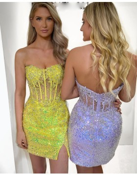 Strapless Lavender Beading Applique Tight Homecoming Dress with Side Slit HD3600