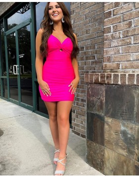 Spaghetti Straps Rose Red Cutout Tight Homecoming Dress HD3601