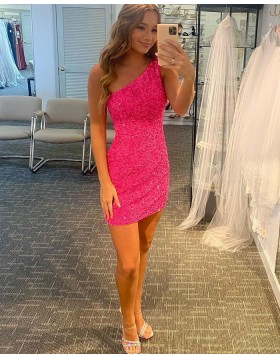 One Shoulder Fuchsia Sequin Tight Homecoming Dress HD3605