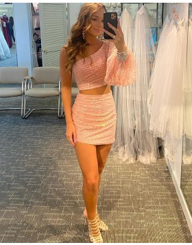 One Shoulder Pearl Pink Two Piece Homecoming Dress with Beading Long Sleeves HD3606