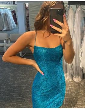 Spaghetti Straps Lavender Sequin Lace Tight Homecoming Dress HD3607
