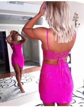Spaghetti Straps Fuchsia Beading Tight Homecoming Dress with Side Slit HD3608