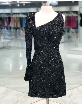 Asymmetric Sequin Black Tight Homecoming Dress with Long Sleeves HD3609