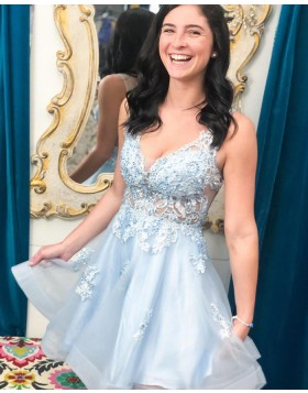 V-neck Lace Applique Tulle Light Blue Homecoming Dress HD3615