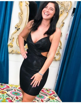 Spaghetti Straps Ruched Black Tight Homecoming Dress HD3616