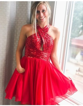 Criss-cross Red Sequin Bodice Homecoming Dress with Chiffon Skirt HD3617