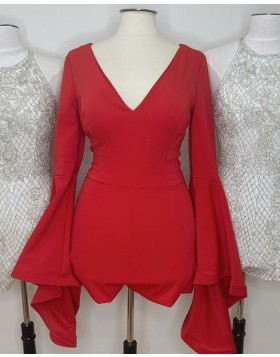 V-neck Red Satin Tight Homecoming Dress with Long Bell Sleeves HD3620