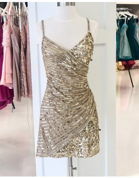 Spaghetti Straps Gold Sparkle Beading Tight Homecoming Dress HD3626