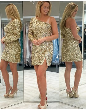 One Shoulder Gold Sequin Long Sleeve Tight Homecoming Dress with Side Slit HD3635