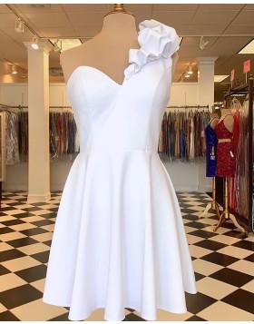 One Shoulder White Chiffon Homecoming Dress HD3637