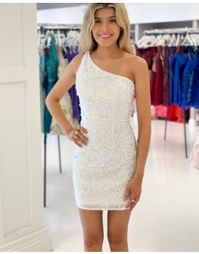 One Shoulder White Sequin Tight Homecoming Dress HD3638