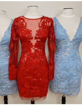 Jewel Neckline Sequin Lace Red Tight Homecoming Dress with Long Sleeves HD3640