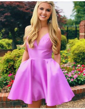 V-neck Light Purple Simple Homecoming Dress with Pockets HDQ3437