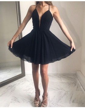 Halter Black Simple Chiffon Pleated Short Formal Dress HDQ3443