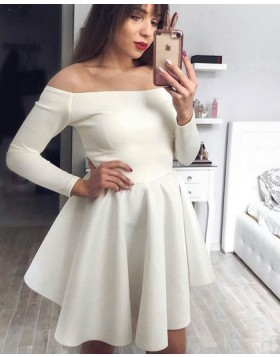 Off the Shoulder Ivory Satin Homecoming Dress with Long Sleeves HDQ3444
