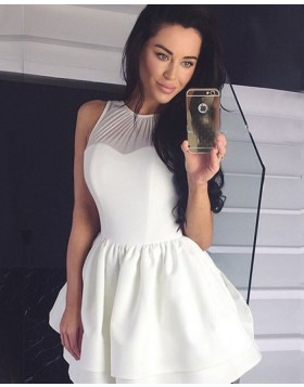 High Neck Ivory Pleated Simple Homecoming Dress HDQ3446