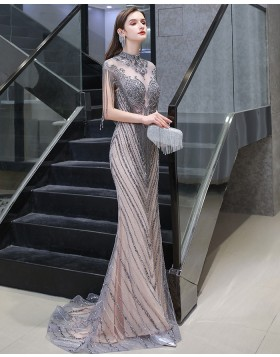 High Neck Grey & Champagne Beading Mermaid Evening Dress with Tassel Cap Sleeves HG118442