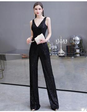 Unique Silver V-neck Sequin Jumpsuit for Evening Party HG20447