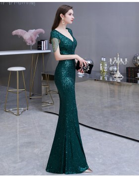 V-neck Sequin Green Mermaid Evening Dress with Tassels Cap Sleeves HG24451