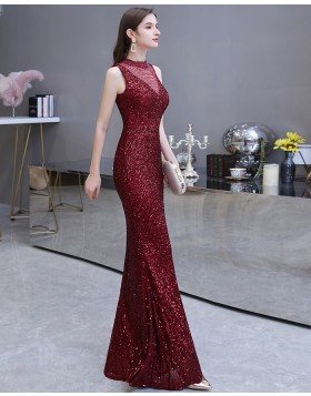 High Neck Burgundy Sequin Mermaid Evening Dress HG24452