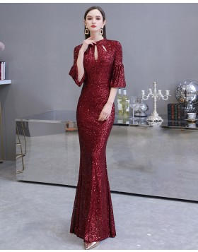 High Neck Cutout Sequin Burgundy Evening Dress with Short Bell Sleeves HG24453