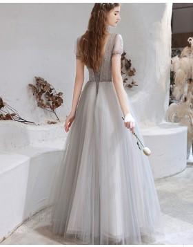 V-neck Beading Bodice Tulle Dusty Blue Evening Dress with Short Sleeves HG361013