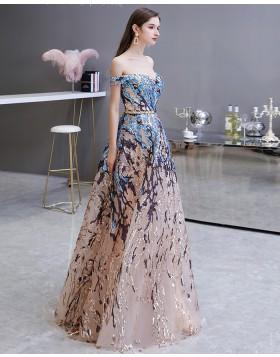 Off the Shoulder Floral Sequin Lace Evening Dress HG45449