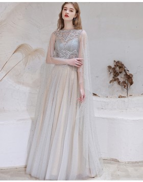 Gorgeous High Neck Beading Tulle Evening Dress with Cape Sleeves HG571016