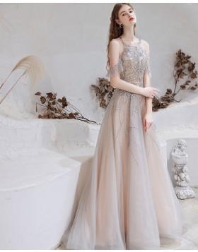 Elegant Cold Shoulder Dusty Blue Beading Tulle Evening Dress HG581018