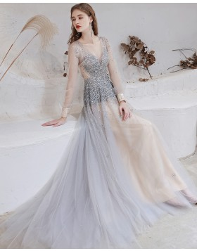 V-neck Beading Tulle Dusty Blue Evening Dress with Long Sleeves HG661014